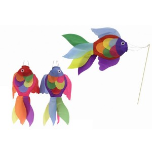 18in Fish Windsock With Stick (6 Assorted Colours)