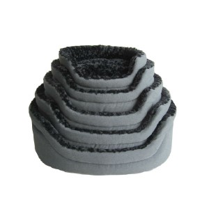 28in Canvas / Luxury Swirl Fur Foam Pet Bed Grey/black