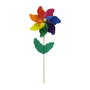 36cm Rainbow Windmill With 75cm Wood Shaft - Assembled