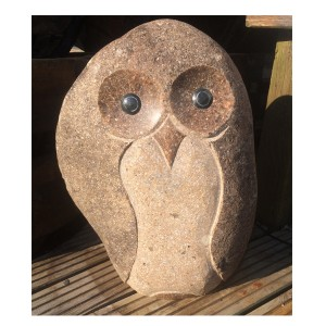 Stone Owl Garden Ornaments Owl with marble eyes 50cm workwithnaturefo
